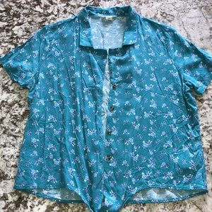 Aeropostale Button Crop Top Shirt Green Size M